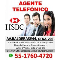 ASESOR DE TELEFONICOS HSBC / LUNES A VIERNES / MEDIO TIEMPO MATUTINO - VESPERTINO