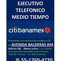 CALL CENTER MEDIO TIEMPO LUNES A SÁBADO CITIBANAMEX