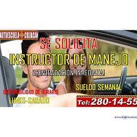 SOLICITAMOS INSTRUCTORES EN ESCUELA DE MANEJO