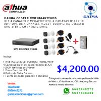 KIT DVR DAHUA 4 CH, 4 Cámaras, 1 Disco Duro, 4 Rollos de Cable, 1 Fuente de Poder