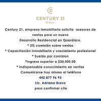 Century 21, empresa inmobiliaria solicita  asesores de ventas para un nuevo Desarrollo Residencial e